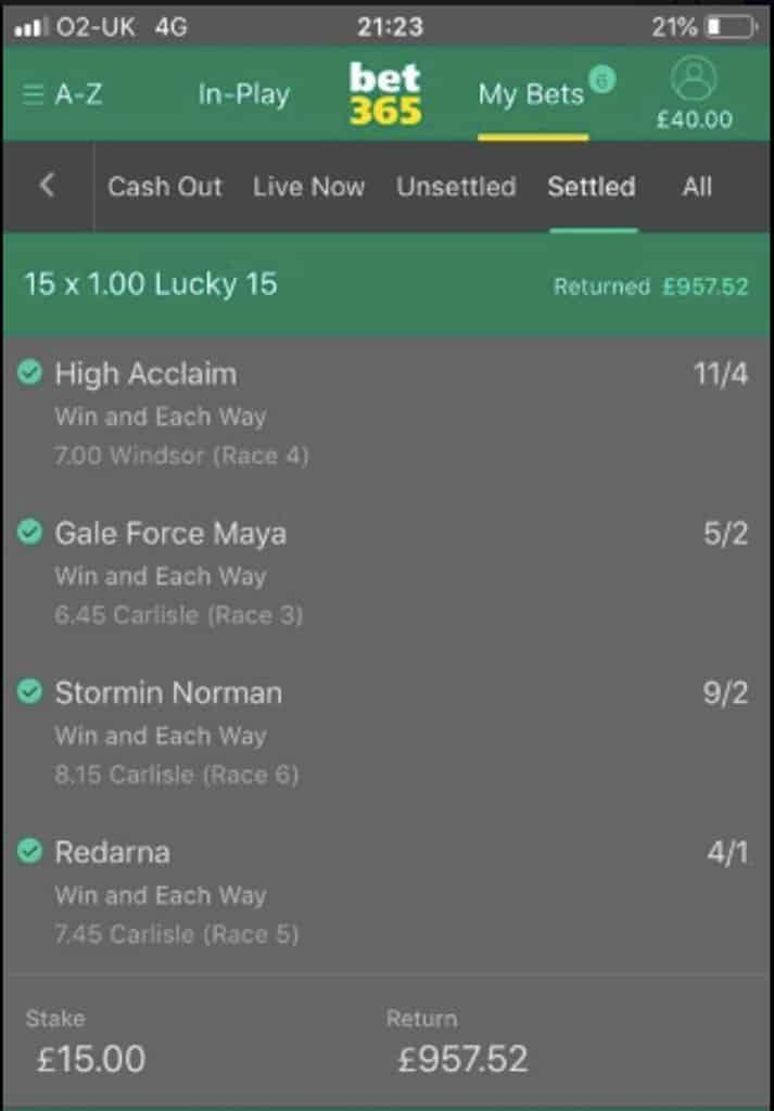 Winning lucky 15 bet
