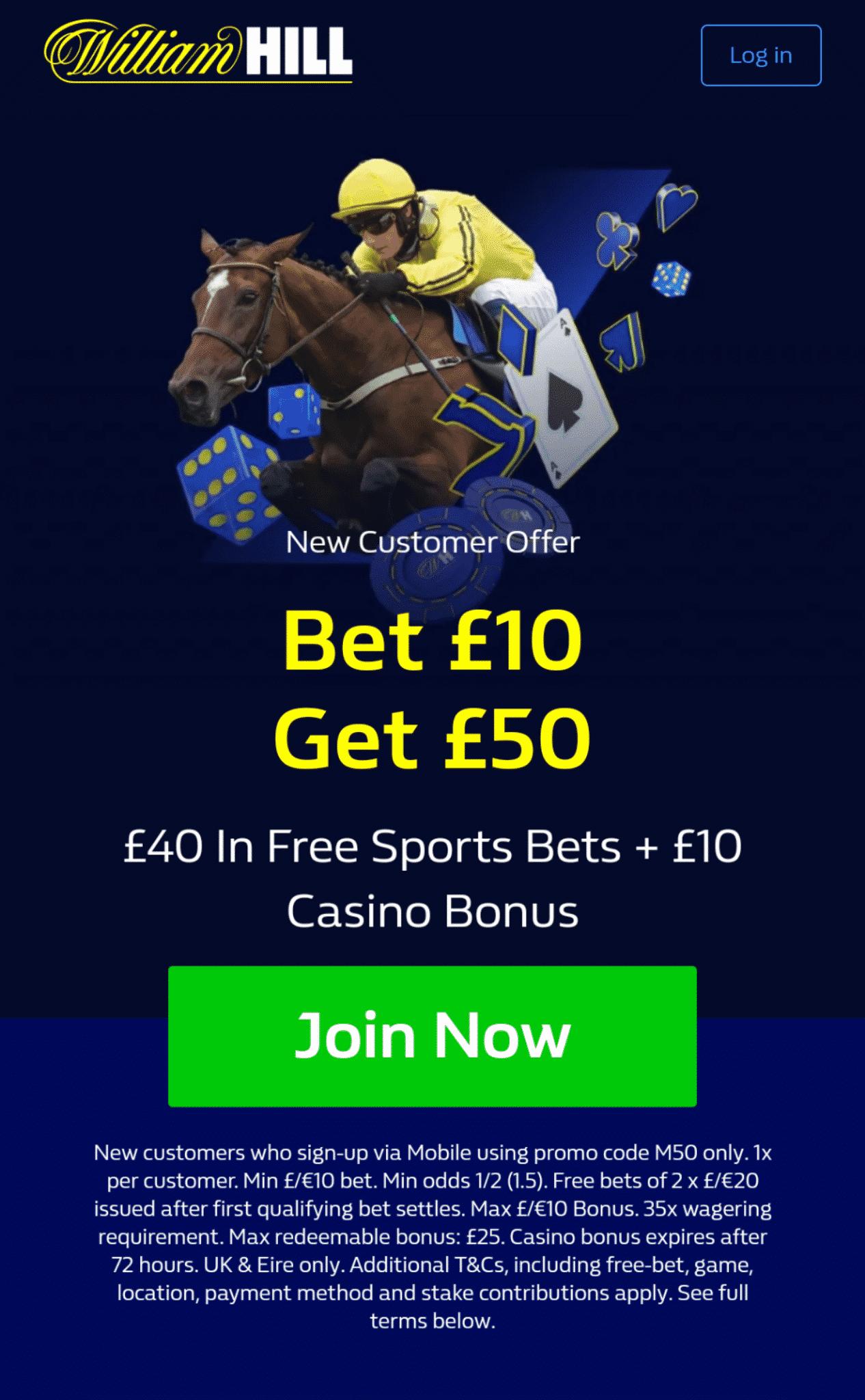 William Hill Cheltenham 50 free bets