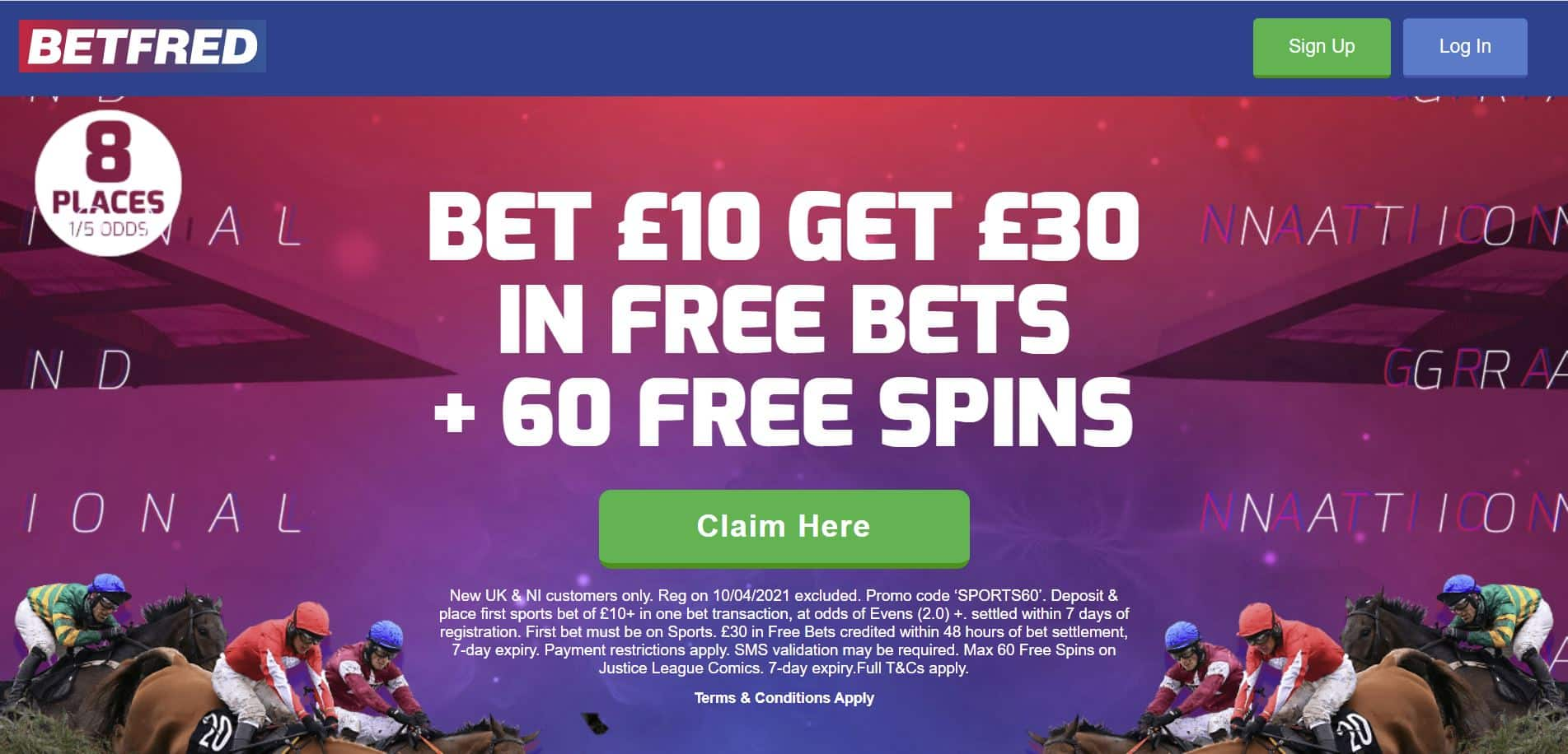 Betfred each-way bets 8 places