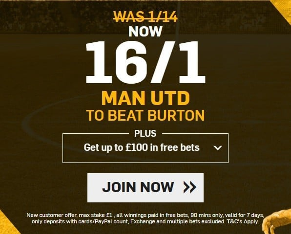 Man United to win enhanced odds