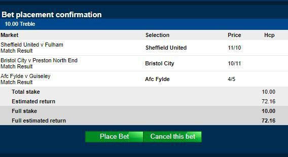 Football Tips for a 6/1 Treble on Today's Fixtures with Betfred