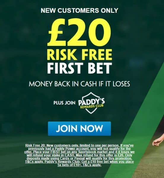 Paddy Power £20 free bet