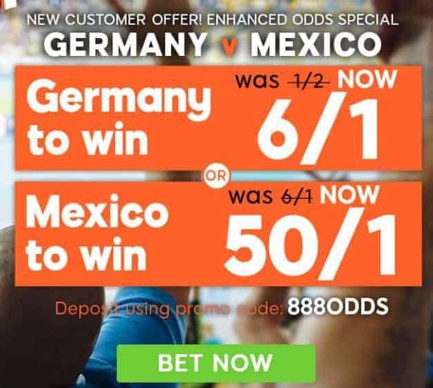 Germany vs Mexico enhanced odds