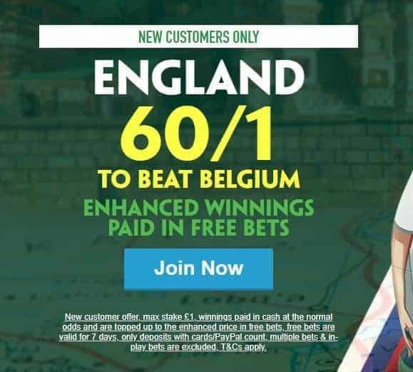 Belgium vs England odds