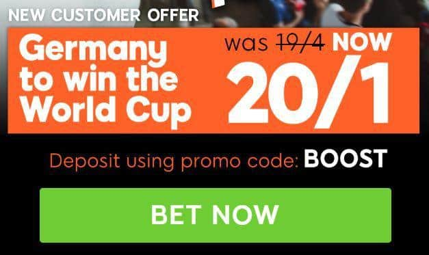 Germany enhanced odds World Cup