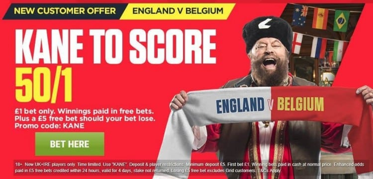 Kane to score anytime odds