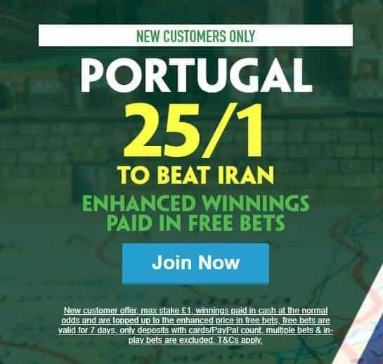 Portugal to win vs Iran