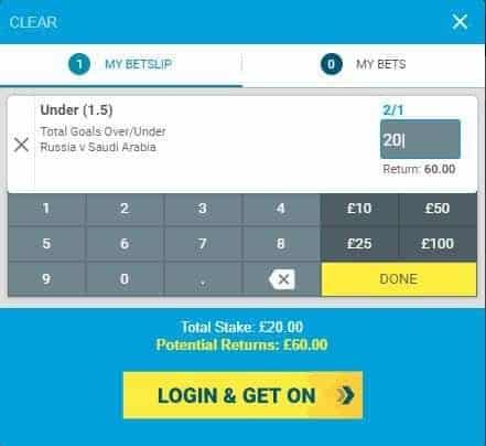 Russia vs Saudi Arabia under tips