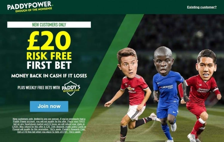 Paddy Power risk free bet