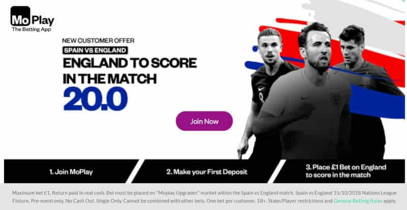 England-20s-big Turn £1 into £20 in CASH if England SCORE A GOAL vs Spain