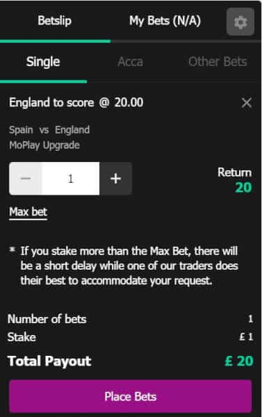 England-20s-slip Turn £1 into £20 in CASH if England SCORE A GOAL vs Spain