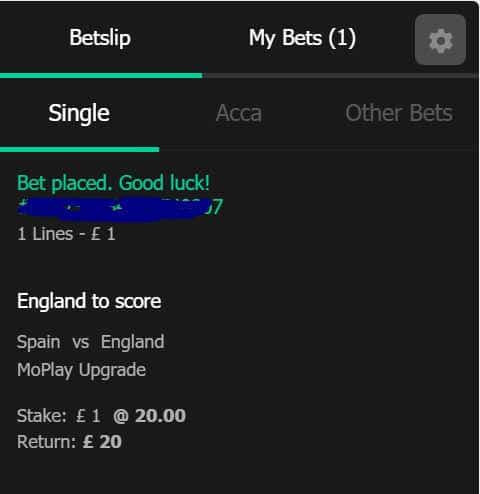 england-score Turn £1 into £20 in CASH if England SCORE A GOAL vs Spain