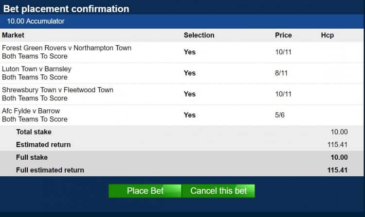 BTTS New Year's Day