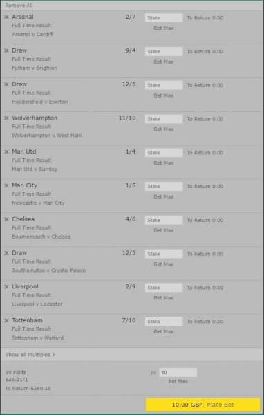 Premier League mega accumulator