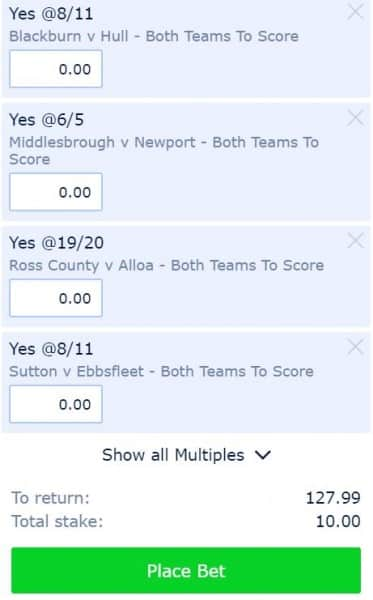 BTTS-26th-Jan Saturday Both Teams to Score Tips - £10 wins £128 and get £30 in Free Bets