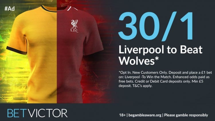 Liverpool-30s-Wolves Liverpool to beat Wolves - Two 30/1 Enhanced Odds Offers