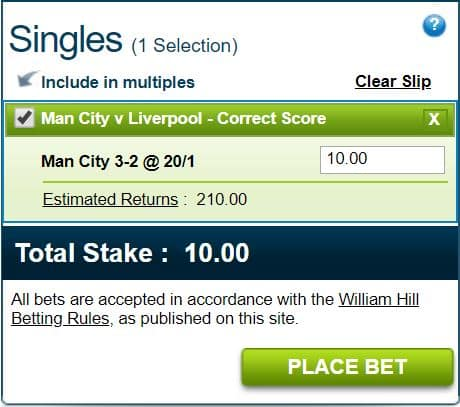 Man City vs Liverpool score prediction