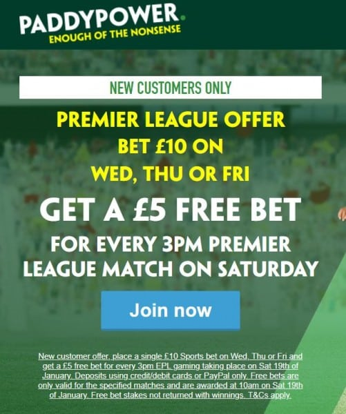 Paddy Power betting offer