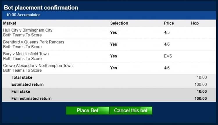 BTTS-2nd-March Both Teams to Score Tips for 9/1 4-fold on Saturday 2nd March
