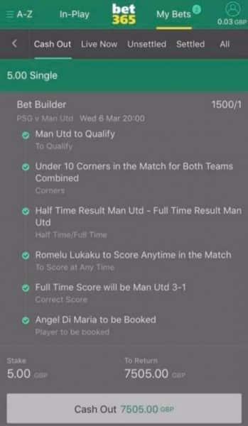 PSG v Man Utd bet builder winner