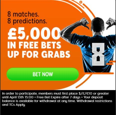 888SPort-predictions Football Accumulator Tips for this Weekend - £10 wins £112 on Saturday