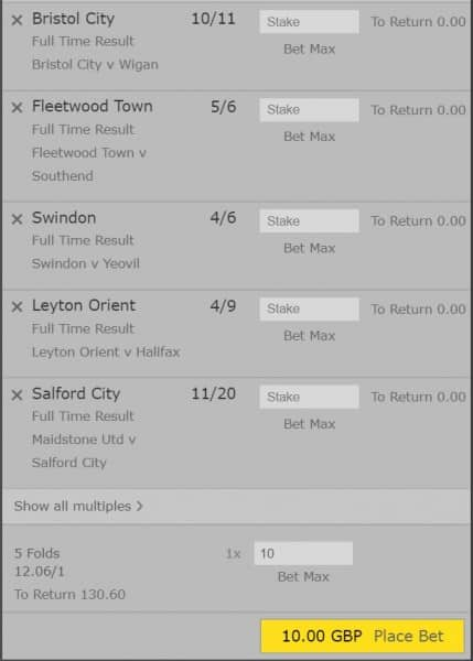 Acca-6th-April Football Accumulator Tips for Saturday's Matches - Bet £10 to win £128