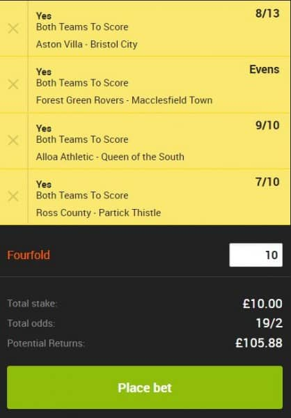 BTTS Tips for Saturday 13th April - £10 wins £105