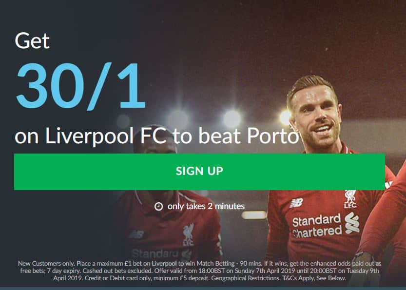 Liverpool to beat Porto odds
