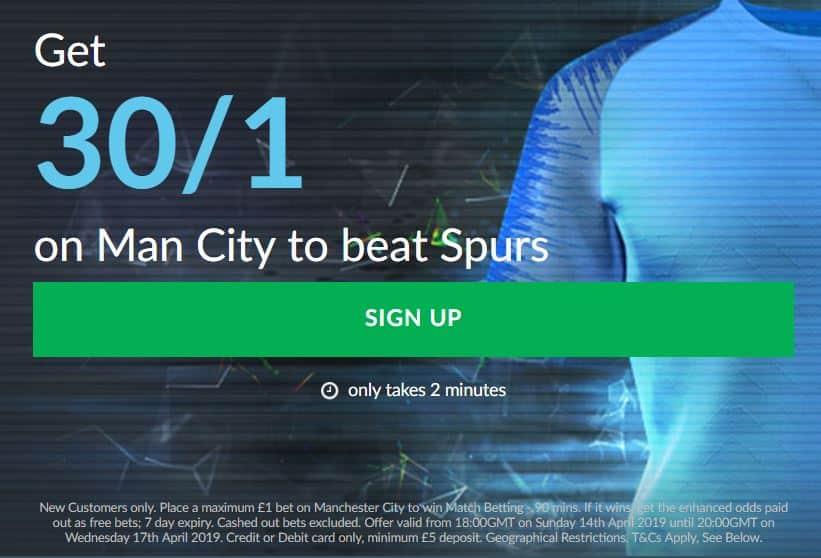Man City to win vs Tottenham