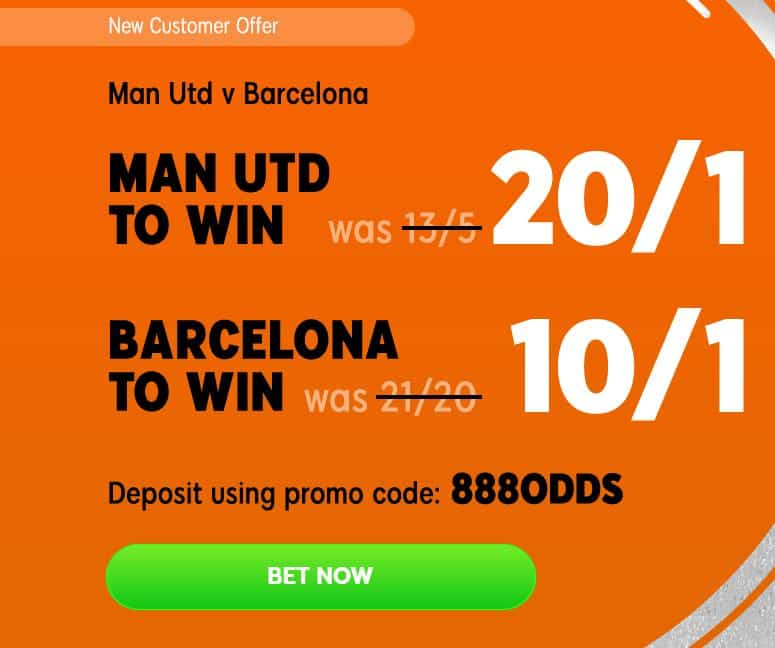 Man United vs Barcelona enhanced odds