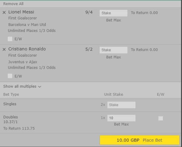 Ronaldo-Messi-double Ronaldo and Messi Champions League Double Odds - 10/1 to score first