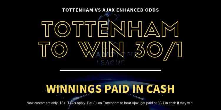 Spurs-30_1 Where to bet on Spurs to beat Ajax - win £85 from a £6 stake tonight