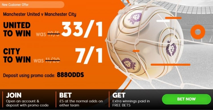 United-City-888 Manchester Derby Offer - 33/1 Man Utd win OR 7/1 Man City win