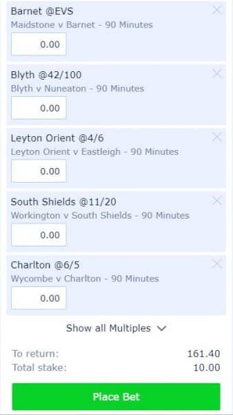 accumulator-9th-April Football Accumulator Tips Today - £10 wins £161