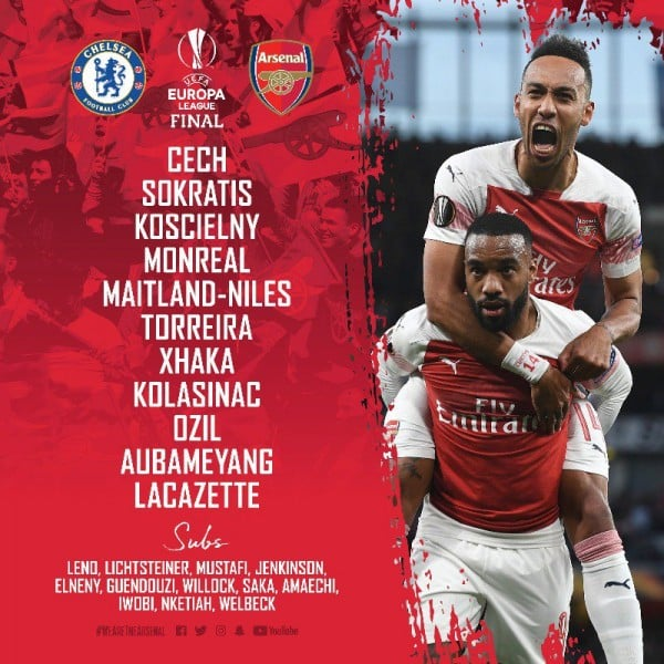 Arsenal-tem Arsenal CONFIRMED Line-up for the Europa League Final v Chelsea