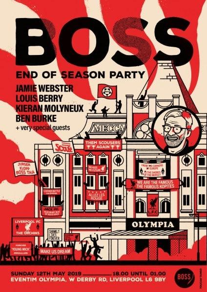 "Boos-end-of-season-party Funny Jamie Carragher Video Singing ""Virgin Van Dijk"" Song at a BOSS Night Gig"