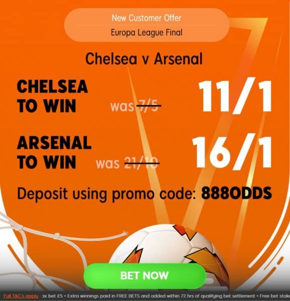 Chelsea-Arsenal-888 Europa League Final Competition - Predict the Correct Score to win a £10 free bet