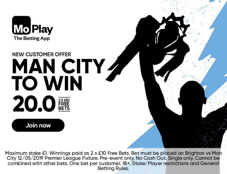 City-20-MoPlay Get 2 free £10 bets if Manchester City beat Brighton