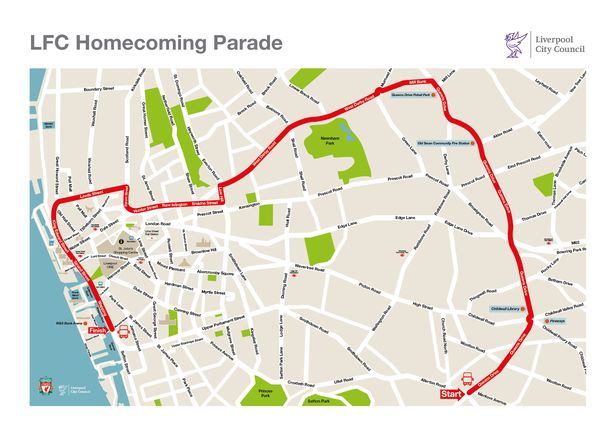 Liverpool victory parade route