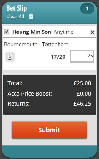 Son to score anytime