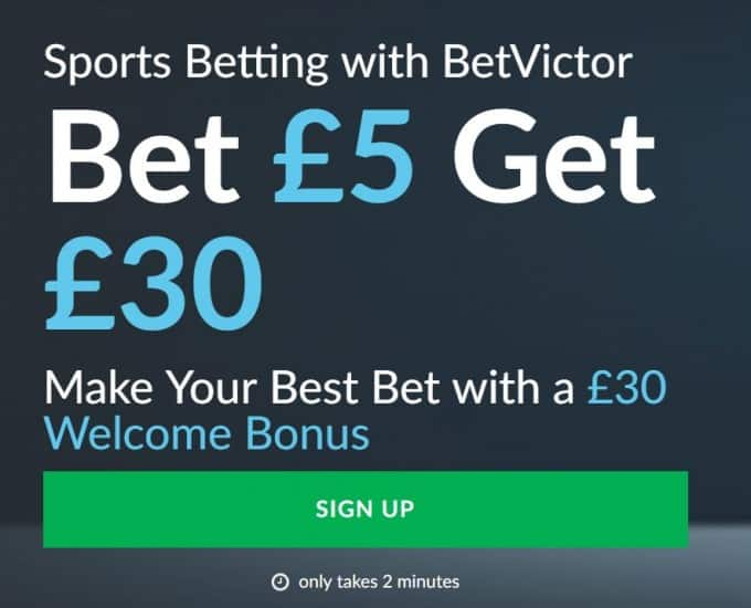 Bet-Victor-5-get-30 Bet Victor Sign-up Offer, New Customer Free Bet and Promotions