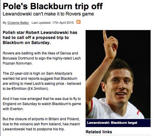 Lewandowski to Blackburn rumour