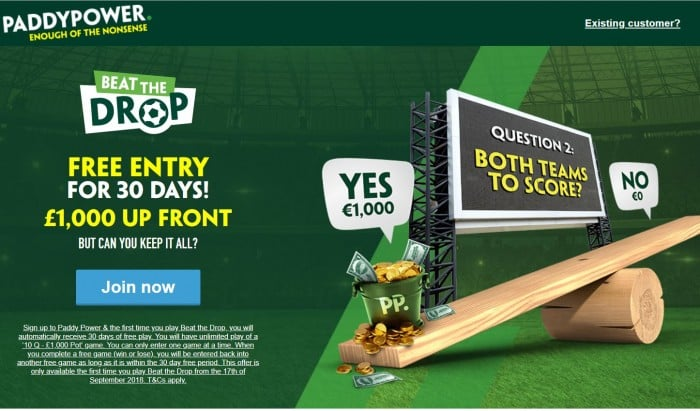 Paddy-Power-beat-the-drop Paddy Power Beat the Drop - FREE UNLIMITED Entry for 30 days