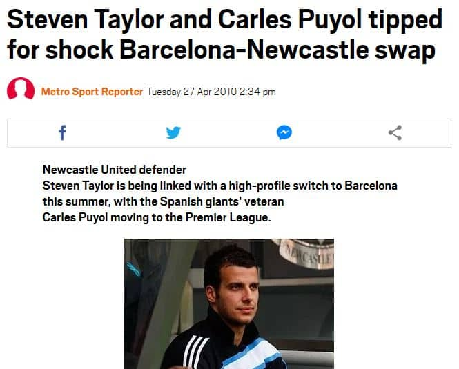 Puyol to Newcastle rumour