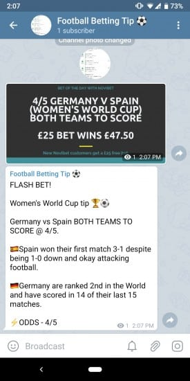 Screenshot_20190612-140743 Telegram Betting Tips Group - Get Football Tips Straight to your Mobile
