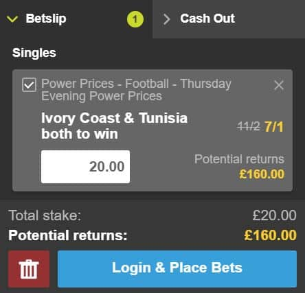 Power-price-loging Win £160 from a risk free bet on the AFCON Quarter-finals today