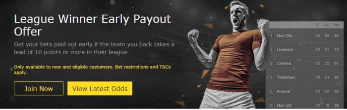 """bet365-early-payout-offer Bet on ante-post bets with the bet365 """"League Winner Early Payout Offer"""""""