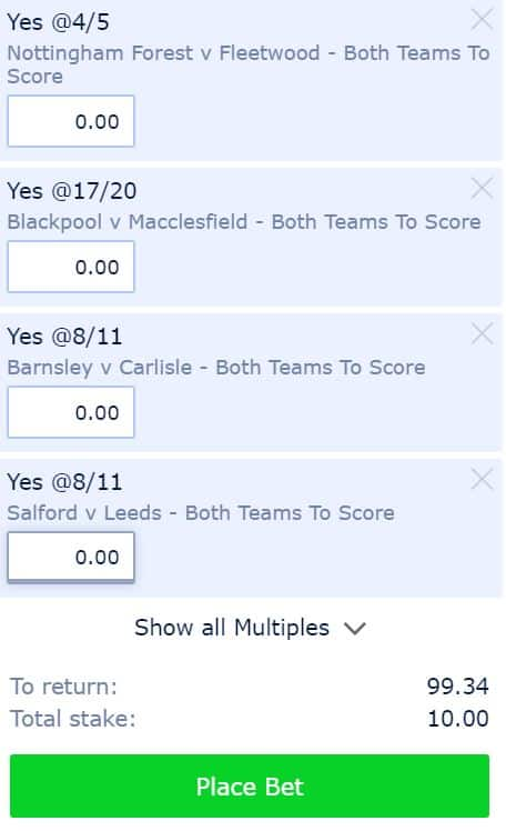 BTTS-13th-August 9/1 BTTS Tips for Tuesday 13th August's EFL Cup Matches