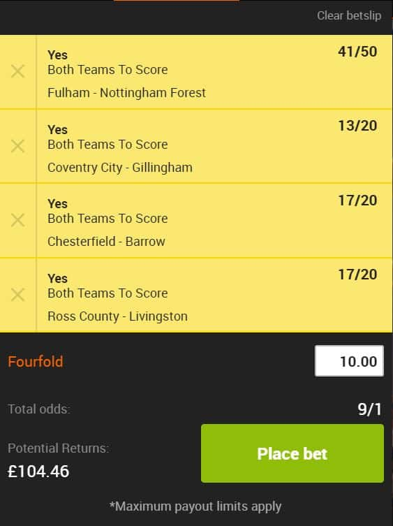 BTTS-24th-Aug Both Teams to Score Accumulator Tips for Saturday's 3pm Kick-offs (24/08/19)
