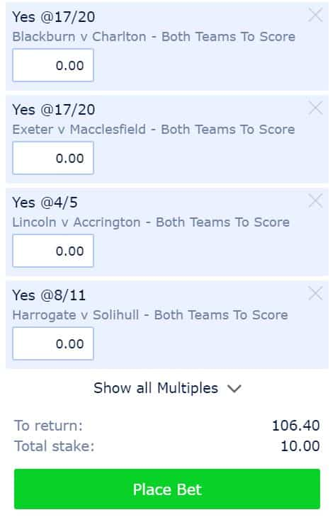 Saturday BTTS tips